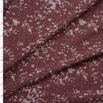 Grey and Burgundy Grunge Pattern Textured Lightweight Sweater Knit Fabric By The Yard