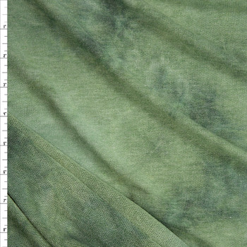 Green Tie Dye Soft Rayon French Terry Fabric By The Yard