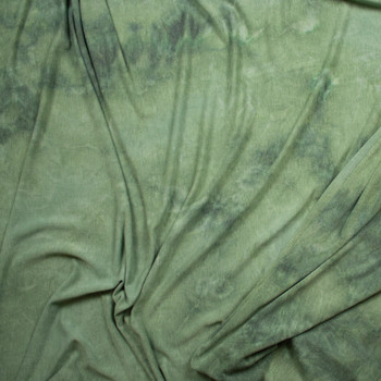 Green Tie Dye Soft Rayon French Terry Fabric By The Yard - Wide shot