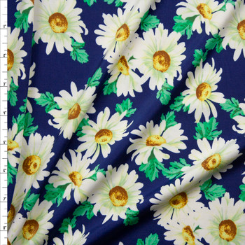 White Daisies on Blue Midweight Nylon/Spandex Fabric By The Yard
