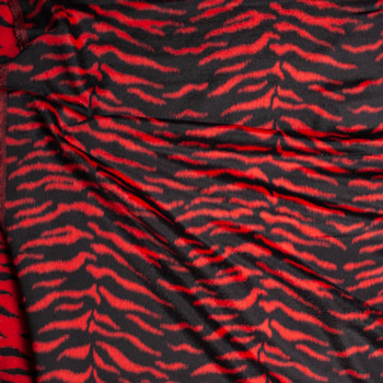 Red Tiger Designer Wool Coating Fabric By The Yard - Wide shot