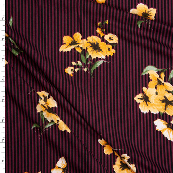 Yellow and Sage Flowers on Black and Wine Stripe Double Brushed Poly Spandex Knit Fabric By The Yard