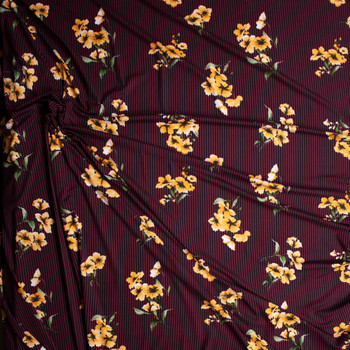 Yellow and Sage Flowers on Black and Wine Stripe Double Brushed Poly Spandex Knit Fabric By The Yard - Wide shot