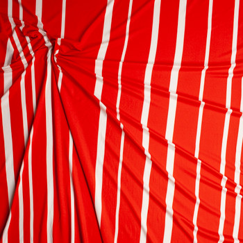 White and Red Vertical Barcode Stripe Double Brushed Poly Spandex Knit Fabric By The Yard - Wide shot