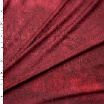 Wine Tie Dye Double Brushed Poly Spandex Knit Fabric By The Yard