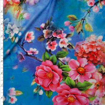 Vibrant Pink Floral on Turquoise and Purple Tie Dye Double Brushed Poly Spandex Knit Fabric By The Yard
