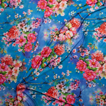 Vibrant Pink Floral on Turquoise and Purple Tie Dye Double Brushed Poly Spandex Knit Fabric By The Yard - Wide shot