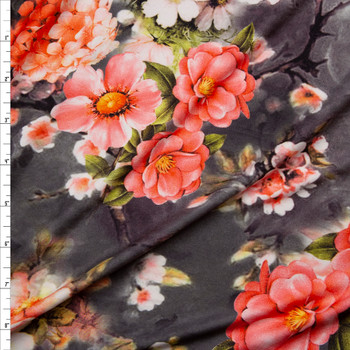 Vibrant Pink Floral on Charcoal Tie Dye Double Brushed Poly Spandex Knit Fabric By The Yard