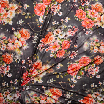 Vibrant Pink Floral on Charcoal Tie Dye Double Brushed Poly Spandex Knit Fabric By The Yard - Wide shot