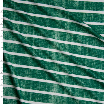 White Horizontal Stripe on Grunge Green Denim Look Print Double Brushed Poly Spandex Knit Fabric By The Yard