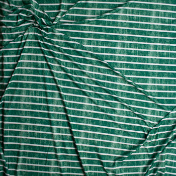 White Horizontal Stripe on Grunge Green Denim Look Print Double Brushed Poly Spandex Knit Fabric By The Yard - Wide shot