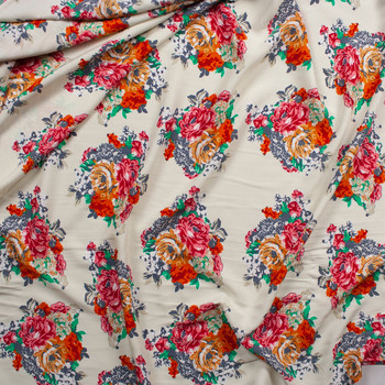 Pink, Mustard, Orange, and Green Floral on Ivory Rayon Challis Fabric By The Yard - Wide shot