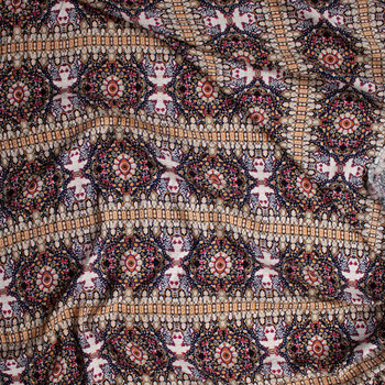Tan, Black, Ivory, Plum, and Red Bohemian Stripe Rayon Challis Fabric By The Yard - Wide shot