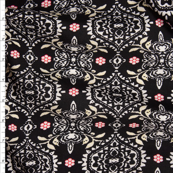 White, Black, Red, and Ivory Floral Medallion Print Rayon Challis Fabric By The Yard