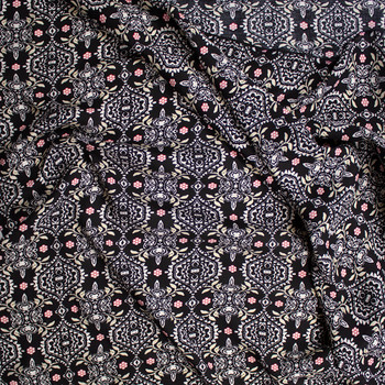 White, Black, Red, and Ivory Floral Medallion Print Rayon Challis Fabric By The Yard - Wide shot