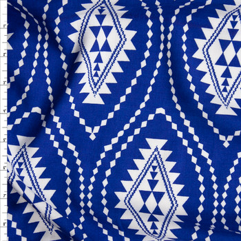 White Tribal Medallions on Royal Blue Rayon Challis Fabric By The Yard