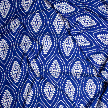 White Tribal Medallions on Royal Blue Rayon Challis Fabric By The Yard - Wide shot