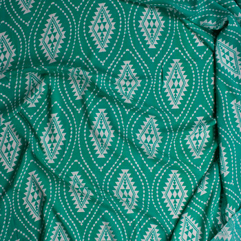 White Tribal Medallions on Bright Green Rayon Challis Fabric By The Yard - Wide shot