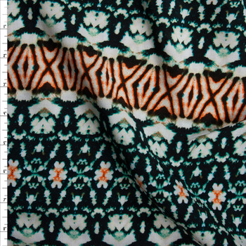 Orange and Emerald Tie Dye Stripe Rayon Challis Fabric By The Yard