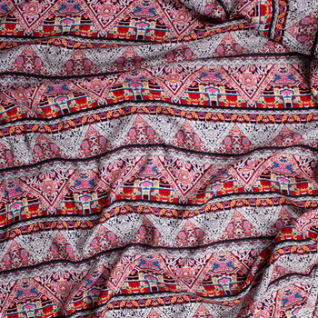 Pink, Red, White, and Yellow Bohemian Stripe Rayon Challis Fabric By The Yard - Wide shot
