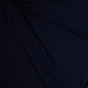 Navy Blue Stretch Wool Jersey Knit Fabric By The Yard - Wide shot