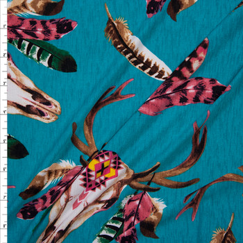 Deer Skulls on Bright Teal Stretch Poly Knit Fabric By The Yard