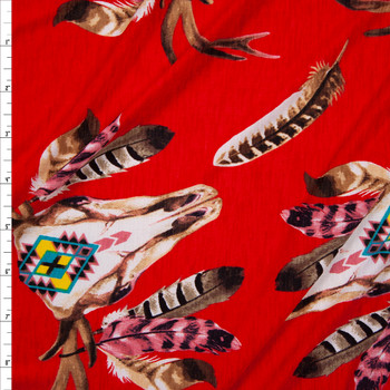 Deer Skulls on Bright Red Stretch Poly Knit Fabric By The Yard