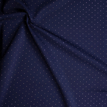 Gold Studs on Navy Double Scuba Knit Fabric By The Yard - Wide shot