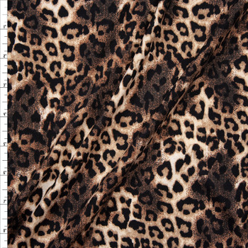 Black, Tan, and Brown Cheetah Print Double Brushed Poly Spandex Knit Fabric By The Yard