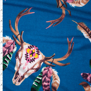 Feathered Deer Skulls on Teal Soft Sweater Knit Fabric By The Yard