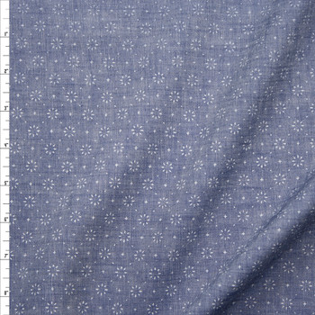 Starburst Light Blue Cotton Chambray Fabric By The Yard