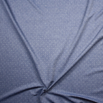 Starburst Light Blue Cotton Chambray Fabric By The Yard - Wide shot