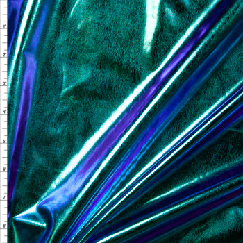 Teal, Purple, Green, and Blue Iridescent Metallic Lycra Lamé Fabric By The Yard