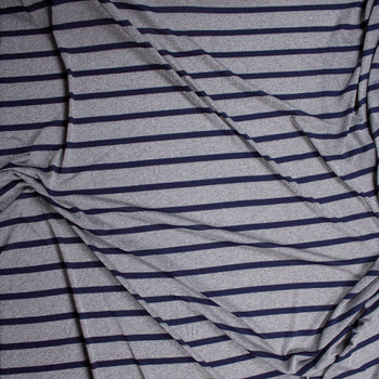 Sparkling Silver Grey and Navy Stripe Lightweight Stretch Jersey Fabric By The Yard - Wide shot