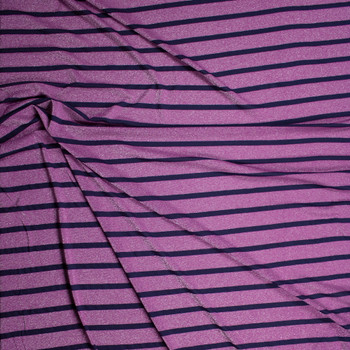 Sparkling Lilac and Navy Stripe Lightweight Stretch Jersey Fabric By The Yard - Wide shot