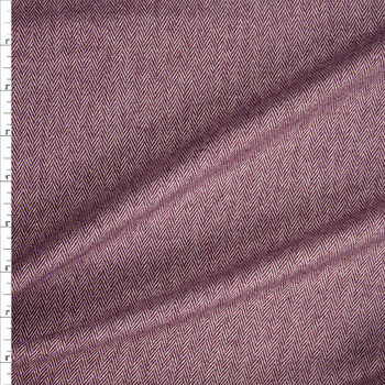 Wine and Ivory Herringbone Brushed Wool Suiting Fabric By The Yard