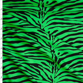 Neon Green and Black Tiger Print Nylon Spandex Fabric By The Yard