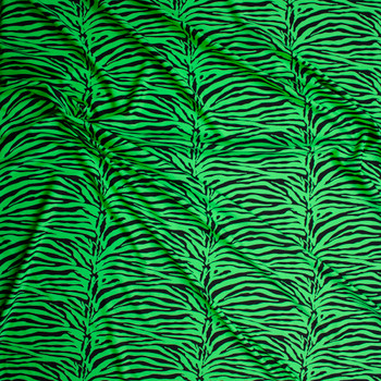 Neon Green and Black Tiger Print Nylon Spandex Fabric By The Yard - Wide shot