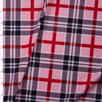 Blush, Navy, Red, and White Plaid Nylon Spandex Fabric By The Yard