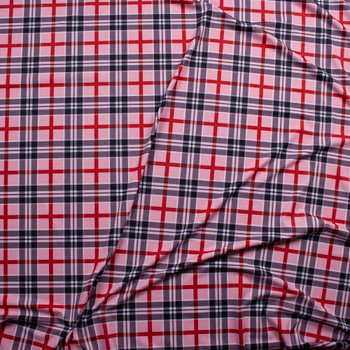 Blush, Navy, Red, and White Plaid Nylon Spandex Fabric By The Yard - Wide shot