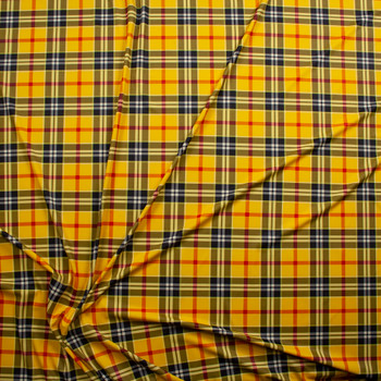 Goldenrod, Black, White, and Red Plaid Nylon Spandex Fabric By The Yard - Wide shot