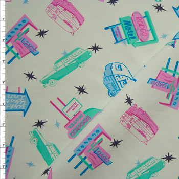 Retro Road Trip Print in Mint, Pink, and Blue on Ivory Stretch Twill Fabric By The Yard