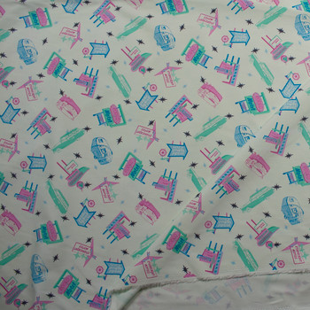 Retro Road Trip Print in Mint, Pink, and Blue on Ivory Stretch Twill Fabric By The Yard - Wide shot