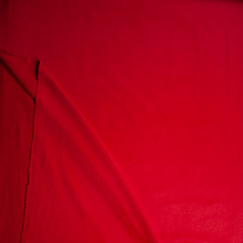 Solid Red Designer Wool Coating Fabric By The Yard - Wide shot