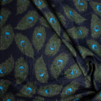 Olive, Black, and Turquoise Peacock Feather Wool Coating Fabric By The Yard - Wide shot