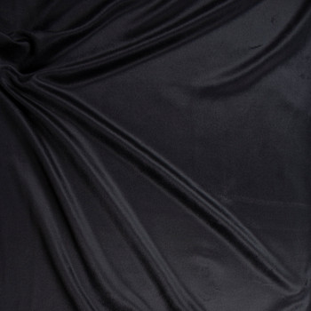 Black Short Pile Designer Wool Coating Fabric By The Yard - Wide shot