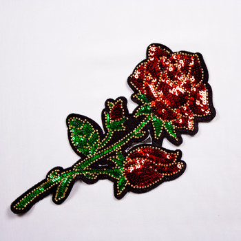 Red, Green, and Gold Rose Sequined Iron-on Appliqué Fabric By The Yard