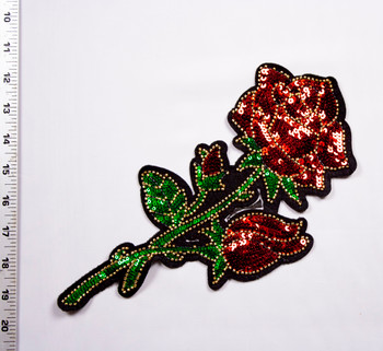 Red, Green, and Gold Rose Sequined Iron-on Appliqué Fabric By The Yard - Wide shot