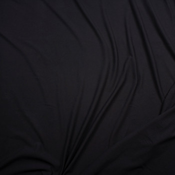 Black Light Midweight Stretch Cotton French Terry Fabric By The Yard - Wide shot