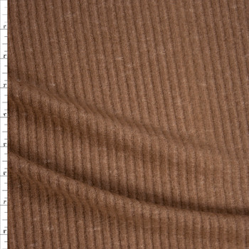 Light Brown Soft Brushed Ribbed Sweater Knit Fabric By The Yard